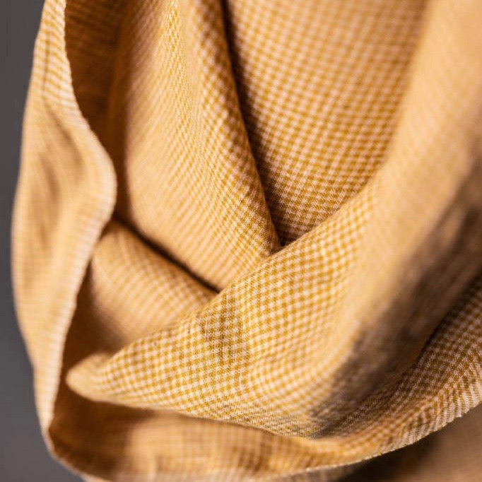 "Merchant & Mills, ""Bijou Wes"" Tiny Pink and Mustard Check Laundered European Linen Fabric, 1/2 yard"