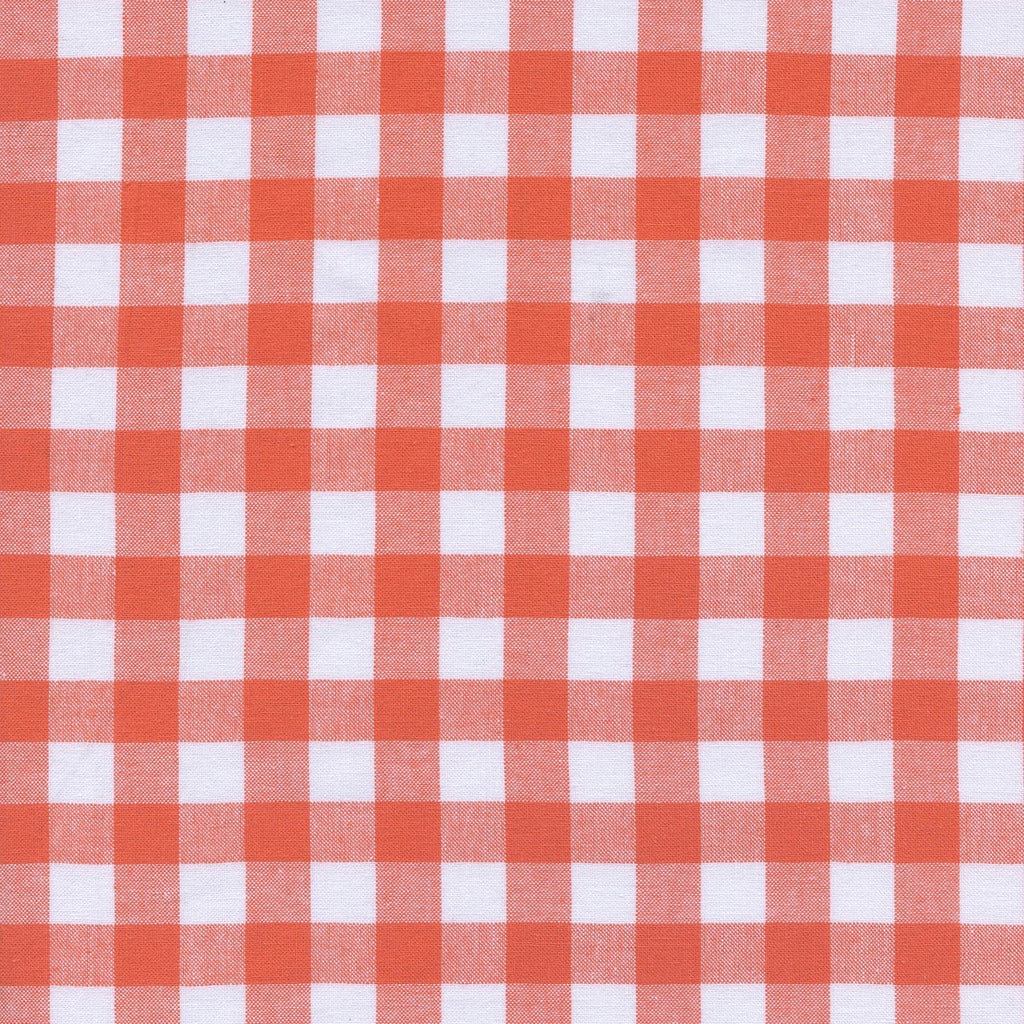 "Checkers - 1/2"" Gingham - Coral  Fabric, 1/2 yard"