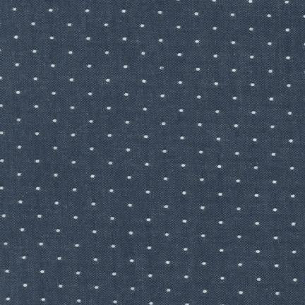 Cotton Chambray Dots, Indigo, 1/2 yard
