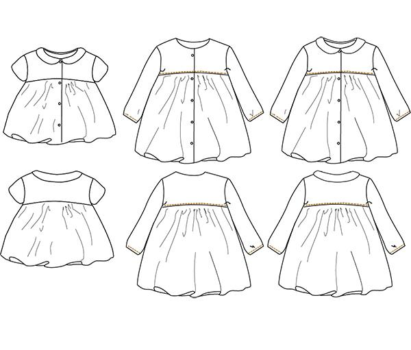 Ikatee (France), Stockholm Blouse & Dress Sewing Pattern - Baby/Child, 6M-4Y