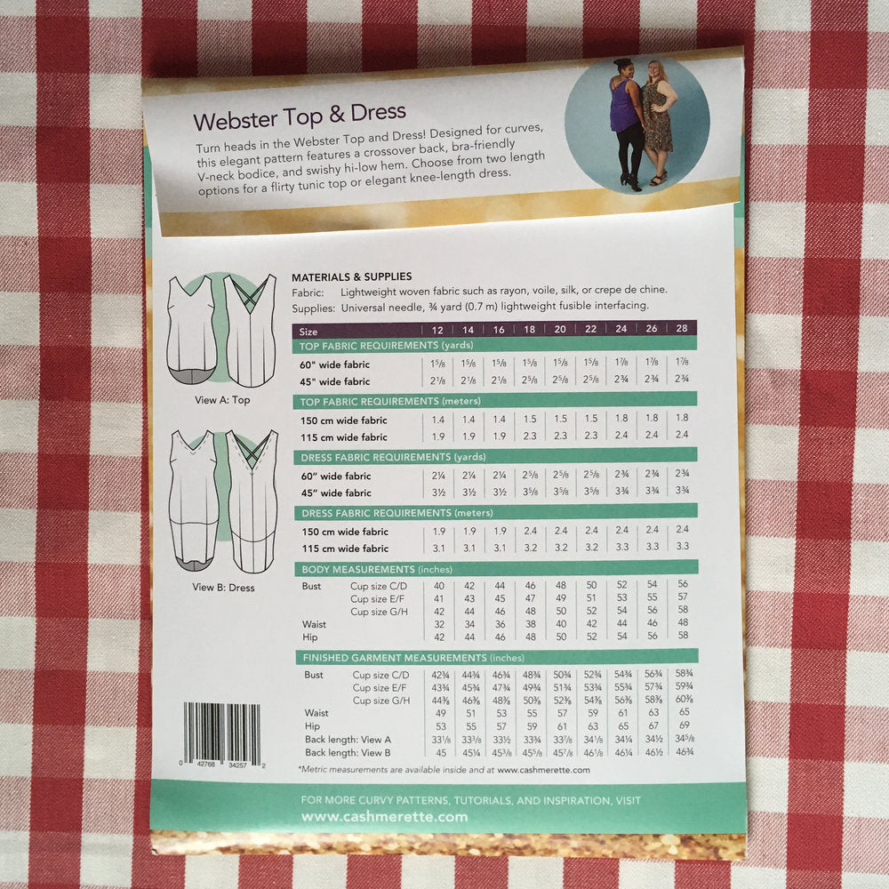 Cashmerette Webster Top and Dress, Curvy Sewing Pattern - Lakes Makerie - Minneapolis, MN