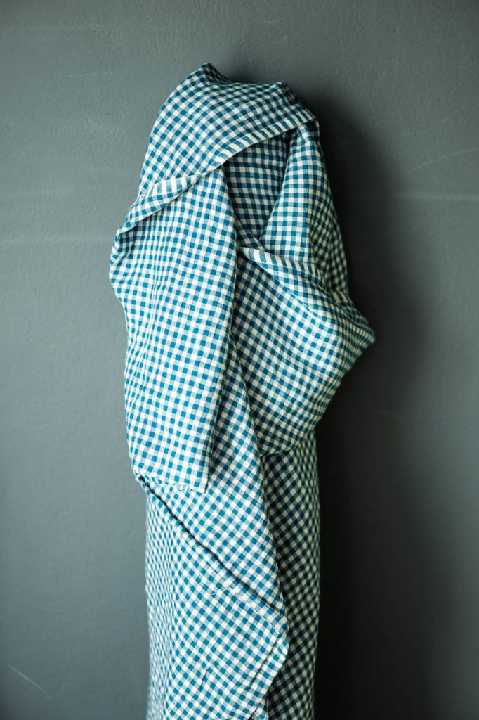 "Merchant & Mills, ""Frankie""  Bright Blue Check Laundered European Linen Fabric, 1/2 yard"