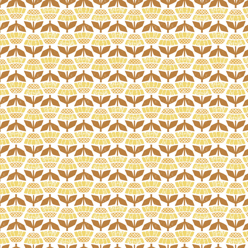 Along the Fields - Helenium - Mellow Yellow Fabric, 1/2 yard