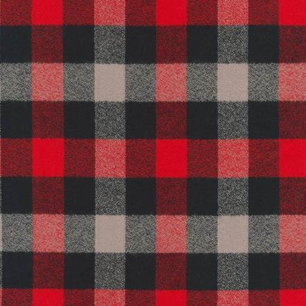 "Mammoth Flannel ""Nicollet"" Buffalo Check Cotton Flannel Fabric- Red, grey and black, 1/2 yard"