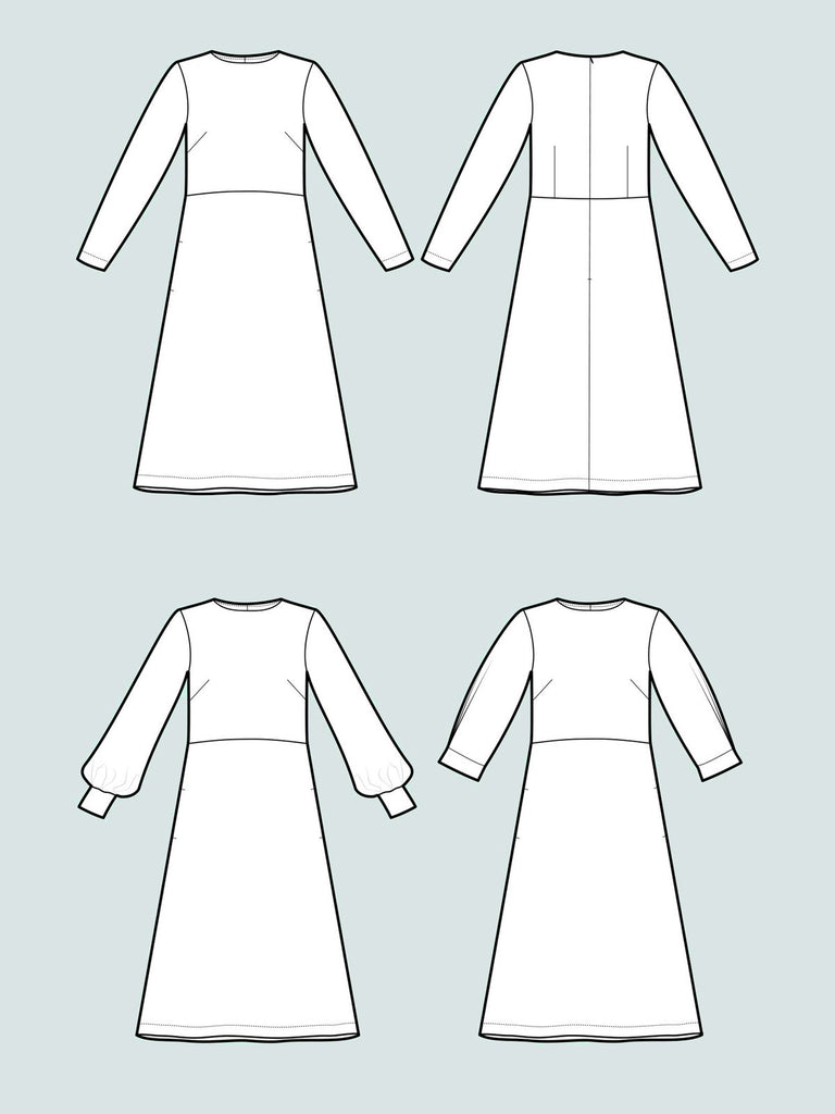Assembly Line, Multi-Sleeve Midi Dress Pattern,  XS-L, Sweden