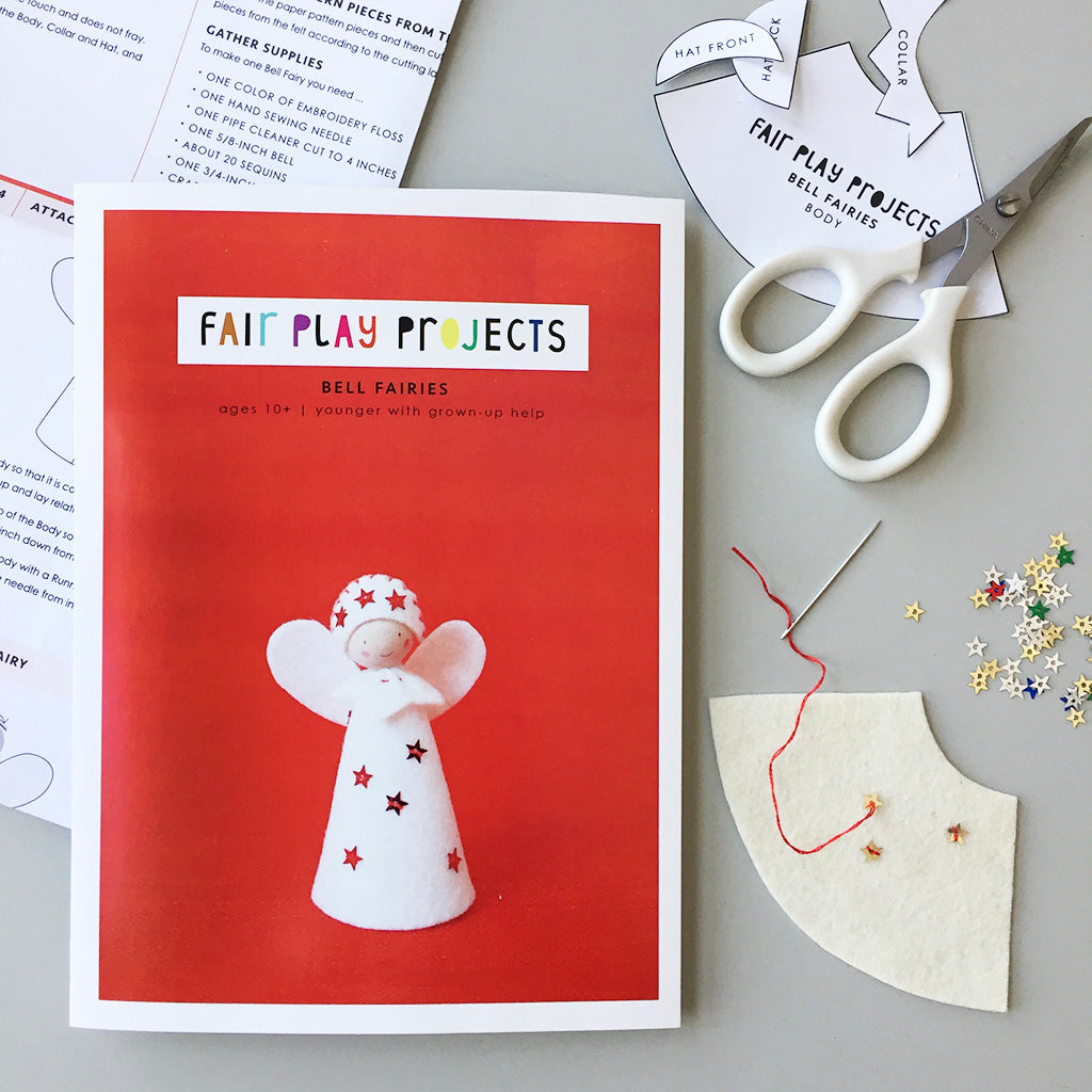 Fair Play Projects, Bell Fairies Kit, Ecru