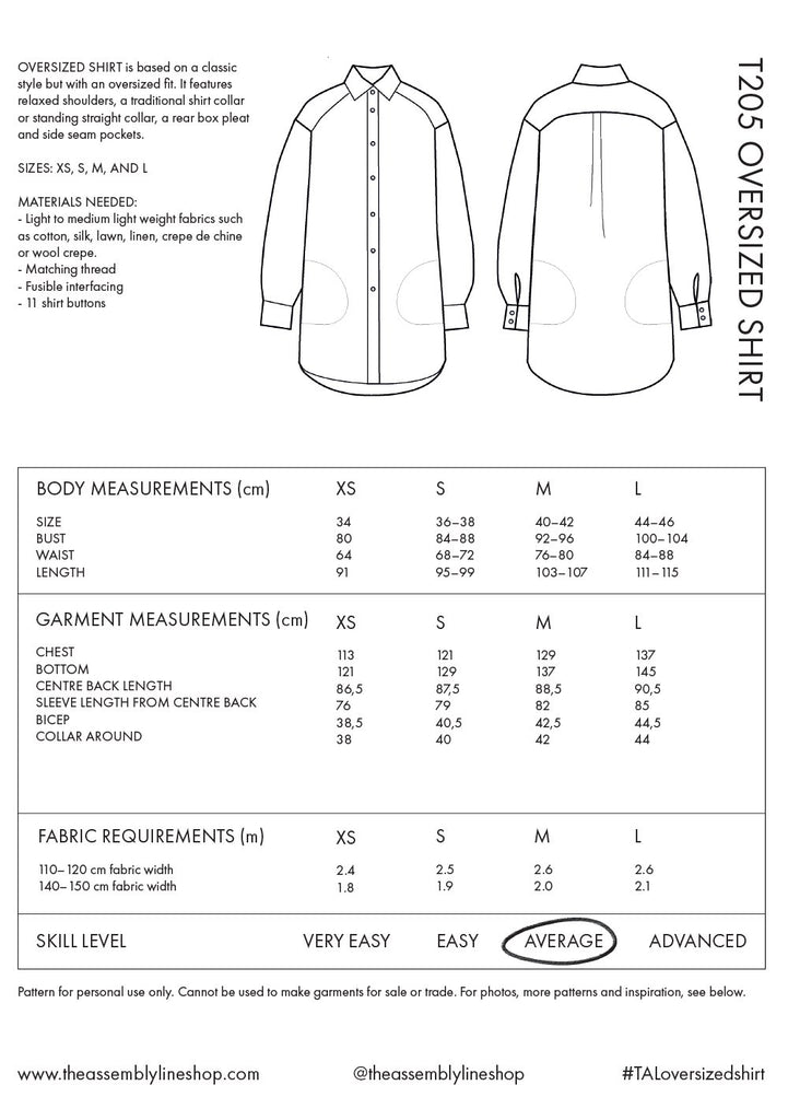 Assembly Line Oversize Shirt Pattern, Sweden,  XS-L