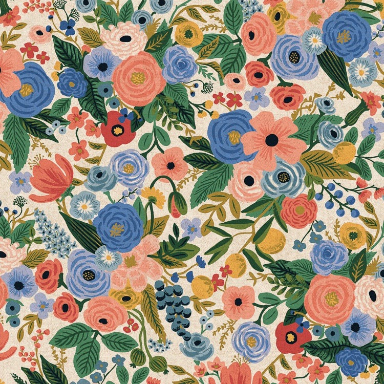 Rifle Paper Co., Wildwood Garden Party Blue Canvas Fabric, 1/2 yard - Lakes Makerie - Minneapolis, MN