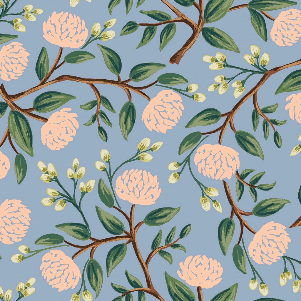 Wildwood Peonies Dusty Blue Fabric