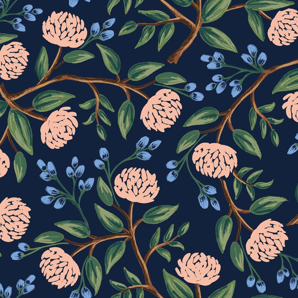 Rifle Paper Co., Wildwood Peonies Navy Canvas Fabric, 1/2 yard - Lakes Makerie - Minneapolis, MN