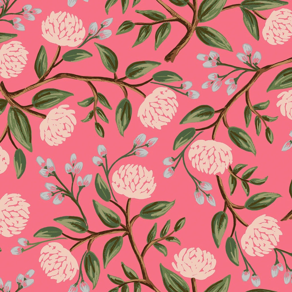 Rifle Paper Co., Wildwood Peonies Pink Fabric, 1/2 yard - Lakes Makerie - Minneapolis, MN