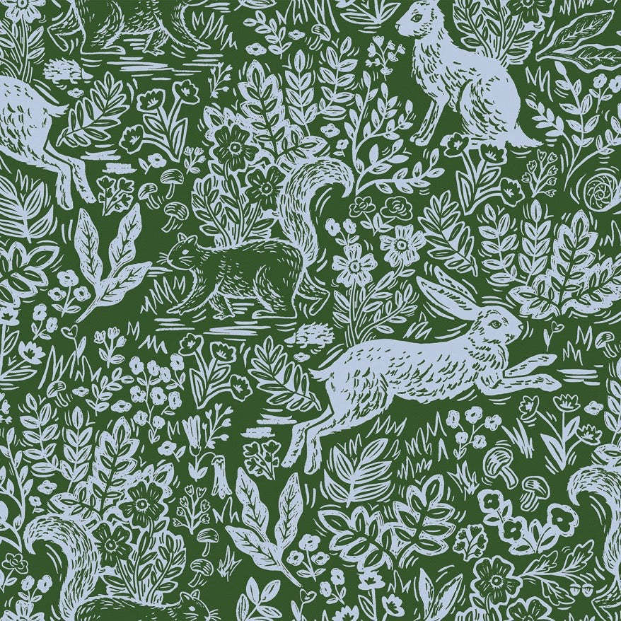 Rifle Paper Co., Wildwood Fable Green Fabric, 1/2 yard