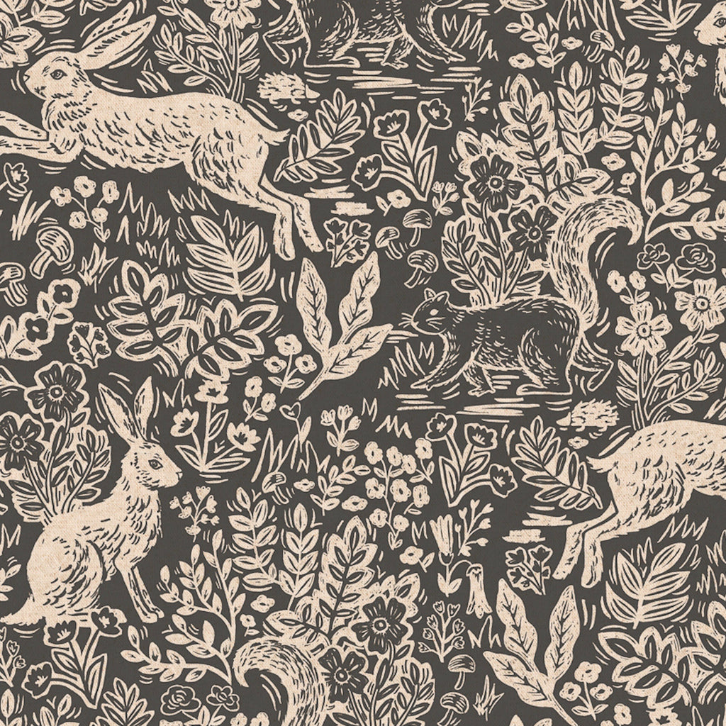 Rifle Paper Co., Wildwood Fable Grey Canvas Fabric, 1/2 yard - Lakes Makerie - Minneapolis, MN