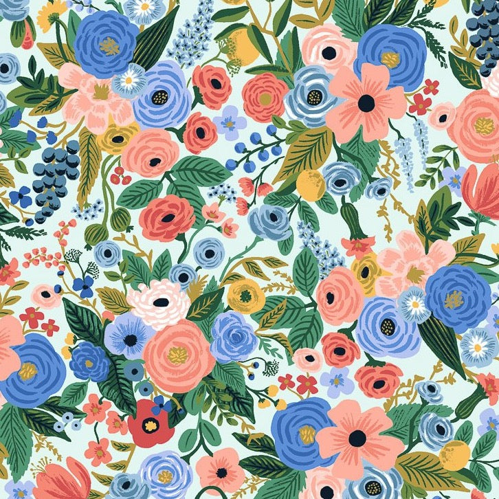 Rifle Paper Co., Wildwood Petite Garden Party Blue Fabric, 1/2 yard