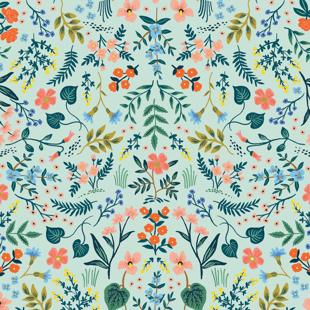 Rifle Paper Co., Wildwood - Wildwood - Mint Metallic Fabric,  1/2 yard
