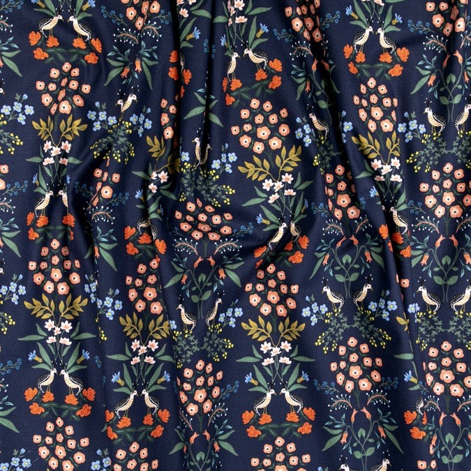 Rifle Paper Co., Meadow - Luxembourg - Blue Fabric, 1/2 yard