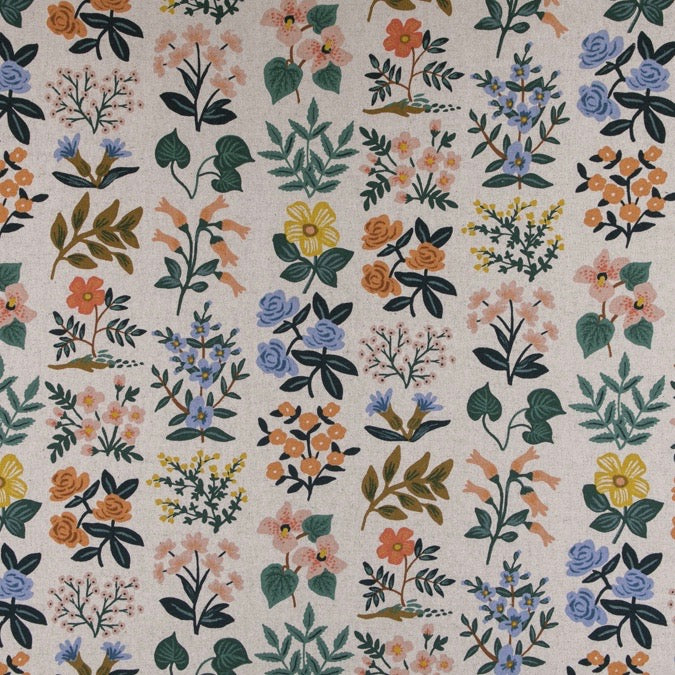 Rifle Paper Co.  Meadow - Wildflower Field - Natural Canvas Fabric, 1/2 yard - Lakes Makerie - Minneapolis, MN