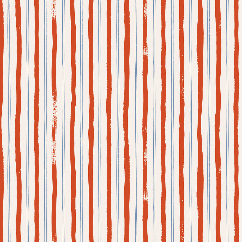Rifle Paper Co., Meadow - Stripes- Red Fabric, 1/2 yard