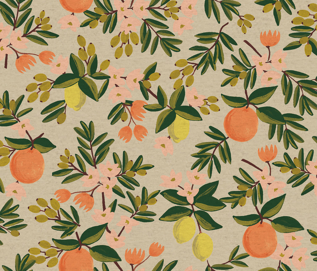 Rifle Paper Co.  Primavera - Citrus Floral-Sand Canvas Fabric, 1/2 yard - Lakes Makerie - Minneapolis, MN