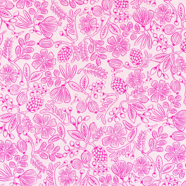 Rifle Paper Co. Primavera - Moxie Floral- Neon Pink Fabric, 1/2 yard