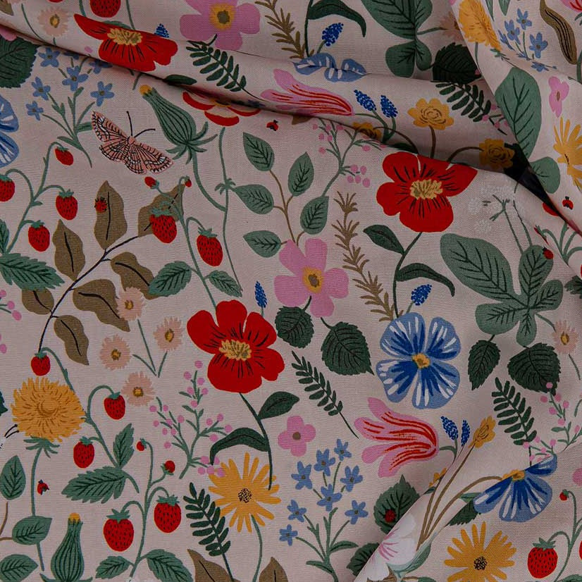 Rifle Paper Co. Strawberry Fields - Strawberry Fields - Blush Rayon Fabric, 1/2 yard