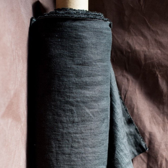 "Merchant & Mills, European Laundered Linen, ""Scuttle Black"", 1/2 yard"