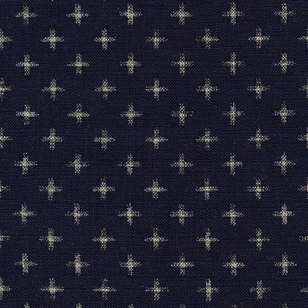 Sevenberry Nara Homespun Cotton Fabric, Crosses on Indigo, 1/2 yard - Lakes Makerie - Minneapolis, MN