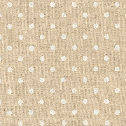 Sevenberry Canvas Natural Dots Cotton Flax Fabric, White on Natural, 1/2 yard