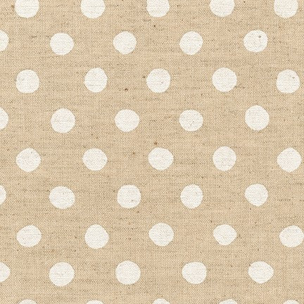 Sevenberry Canvas Natural Dots Cotton Flax Fabric, White on Natural, 1/2 yard - Lakes Makerie - Minneapolis, MN