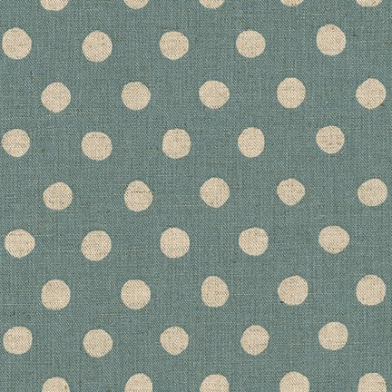 Sevenberry Canvas Natural Dots Cotton Flax Fabric, Natural on Denim, 1/2 yard - Lakes Makerie - Minneapolis, MN