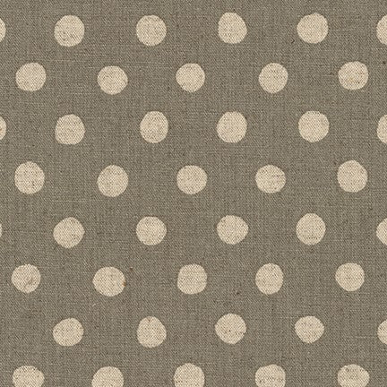 Sevenberry Canvas Natural Dots Cotton Flax Fabric, Natural on Grey, 1/2 yard - Lakes Makerie - Minneapolis, MN