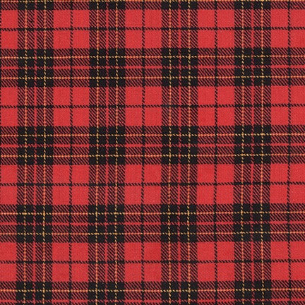 Sevenberry Classic Plaid Twill Cotton Fabric, Red and Black Plaid, 1/2 yard - Lakes Makerie - Minneapolis, MN