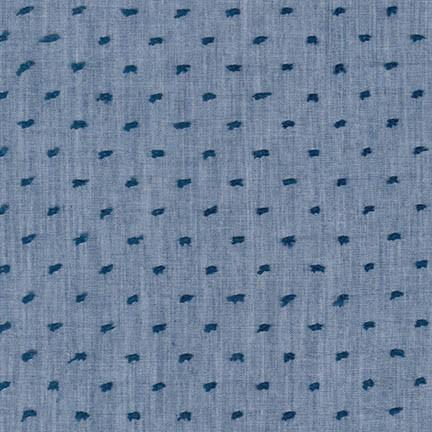 Swiss Dot Chambray Cotton Voile Fabric,  denim blue, 1/2 yard