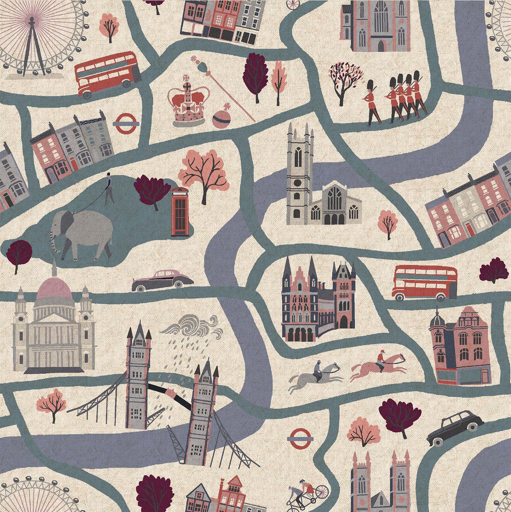 Cotton+ Steel,  London Town - London Forever - Cloudy Day Canvas Fabric, 1/2 yard - Lakes Makerie - Minneapolis, MN