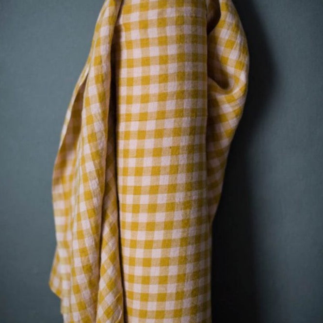 "Merchant & Mills, European Laundered Linen, ""Wes""  Pink and Mustard Check, 1/2 yard"