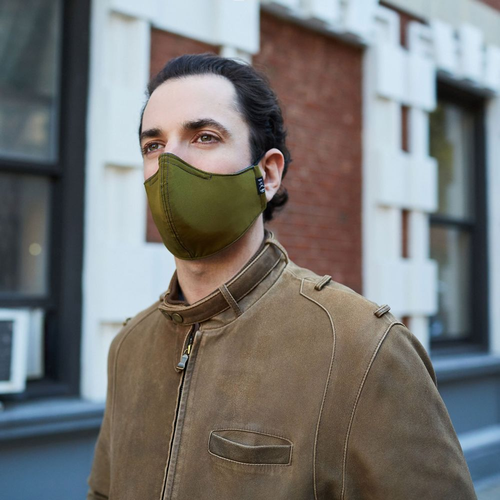 Silk Cloth Face Mask - Olive/Navy