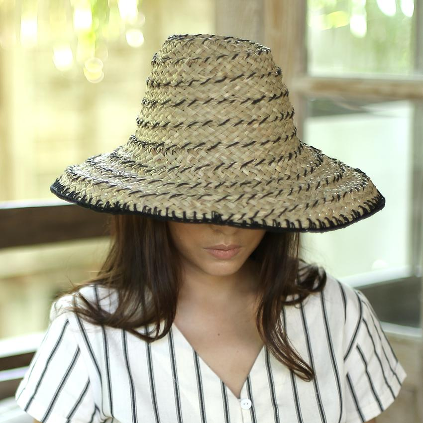 Bucket Straw Hat - Black