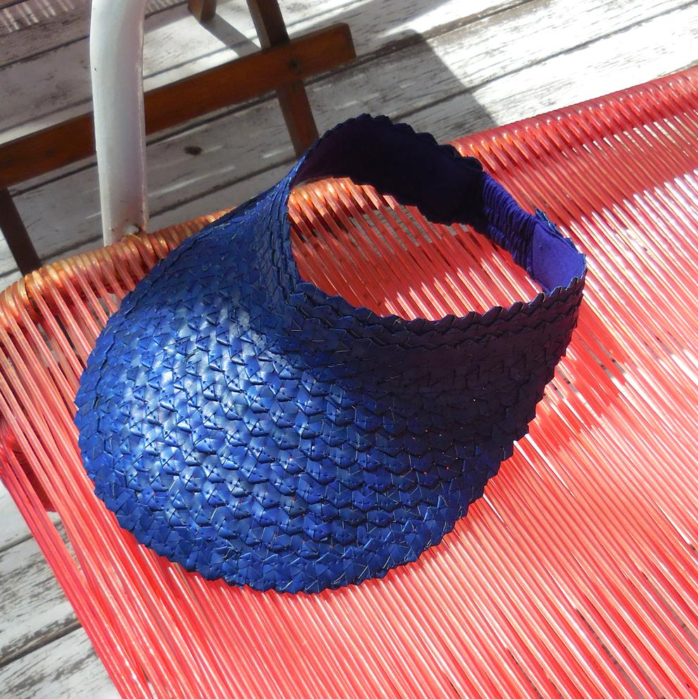 Pandan Visor Straw Hat - Royal Blue