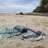 Fethiye Striped Ultra Soft Eco-Friendly Scarf - Green & Navy Blue