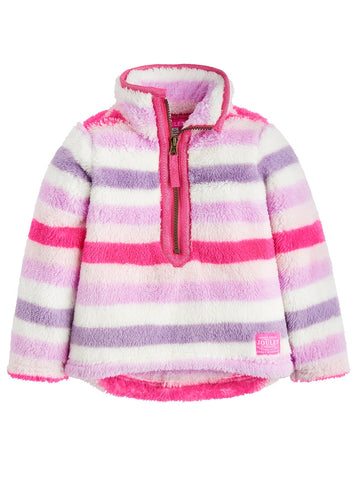 Joules Sweater Pullover Fuzzy Pink Purple Stripe