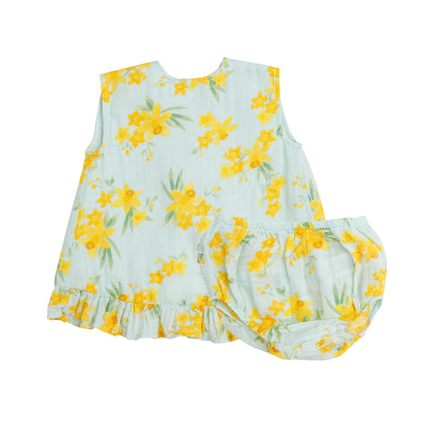 Angel Dear Daffodils Ruffle Top and Bloomer Set in Mint