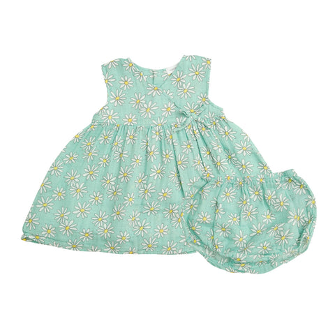 Angel Dear Flower Power Kimono Dress and Diaper Cover in Mint