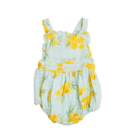 Angel Dear Daffodils Ruffle Bib Bubble Romper in Mint