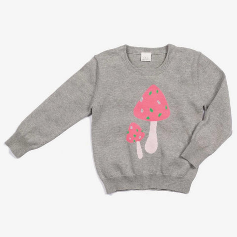 E.G.G. Lexi Cotton Pullover Sweater in Grey Pink Mushrooms