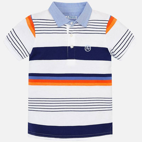 Mayoral Shortsleeve Polo Shirt Navy Orange Stripe