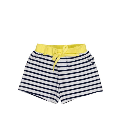 Toobydoo Girls Shorts Navy Stripe with Yellow