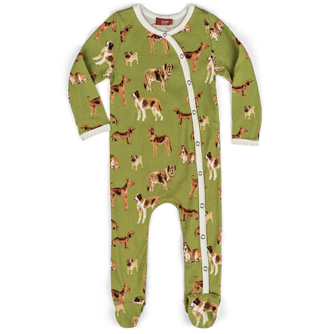 MilkBarn Organic Cotton Footie Green Dogs