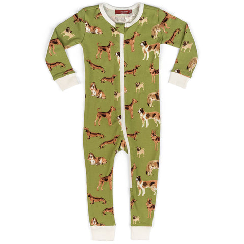 MilkBarn Organic Cotton Footless Zipper Pajama Romper Green Dogs