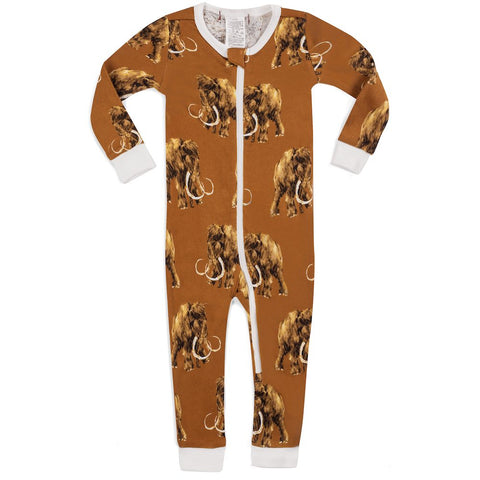 MilkBarn Organic Cotton Footless Zipper Pajama Romper Wooly Mammoth