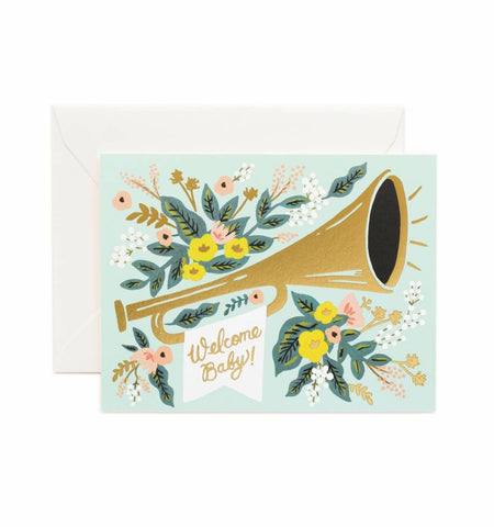 Rifle Paper Company Card - Welcome Baby Trumpet